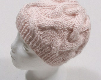 Chunky Cable Beanie Hat - Soft Pale PETAL PINK Alpaca Blend  - Hand Knit - Matching Fingerless Gloves Sold Separately