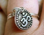 Silver OM Charm Ring