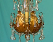 Vintage Italian Gold Tulip Petal 3 Light Beaded Chandelier with Borealis Drops