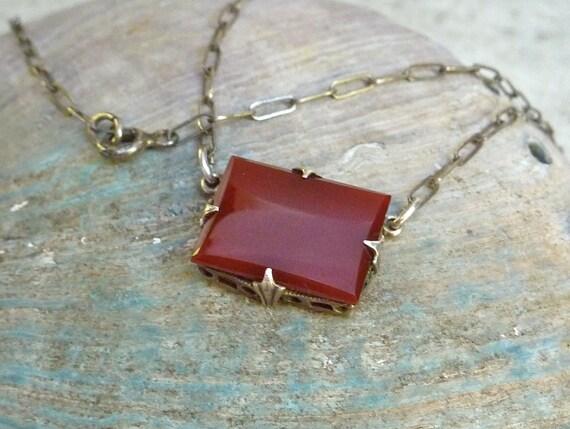 1920s  Bohemian Carnelian Glass Open Back Bezel Set Sterling Necklace