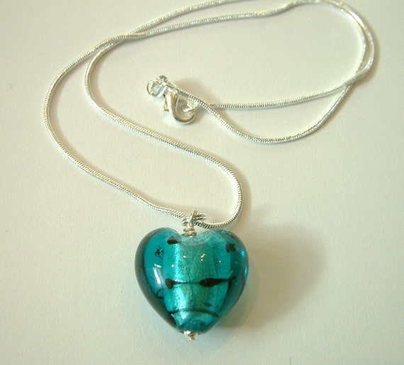 Set of 4 - Teal blue Murano glass heart on a sterling silver snake chain - Bridesmaid gift set