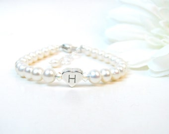 Baby Girl Bracelet // Baby Bracelet // Pearl Baby Bracelet // Real Pearl Bracelet // Personalized Baby Bracelet // Initial Bracelet