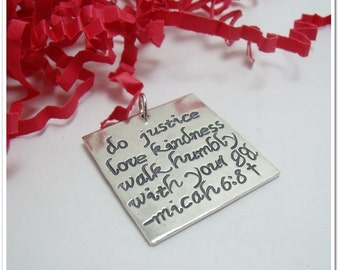 Sterling Silver Square Charm - One Inch Hand Stamped Pendant