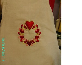 machine Embroidered Apron - Wreath of Hearts