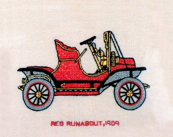 Vintage Embroidery Needle Point Art - Antique Cars Art, Antique Cross Stitch - Stanley Steamer 1908 - Collectible 1960s - 9 x 12