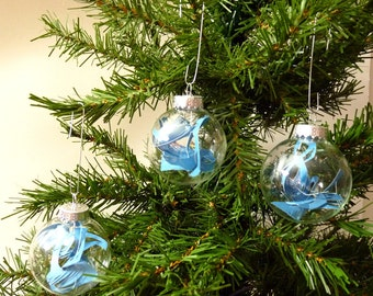Set of 3 Turquoise blue ornaments - Cut Paper Modern Christmas Ornaments - small