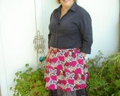 Women's Hostess Half Apron, Red Pink Hearts, Leopard, Lace, One-of-a-Kind