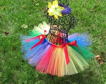 Rainbow Bright Costume- Rainbow Bright tutu- Girls Rainbow tutu- Multicolored Tutu- Clown tutu- Clown Costume- Baby clown tutu