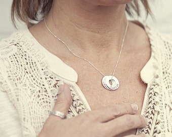 Sterling Silver Washer Names Necklace - Custom open circle necklace - open circle name necklace - mommy jewelry - mom necklace - gift