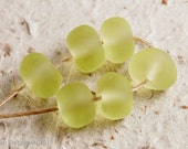 Pale Green Handmade Lampwork Glass Beads, Rustic Nuggets, faux Sea Glass, Etched