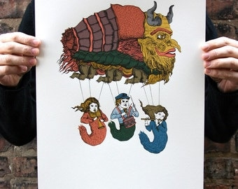 Magical Creature Parade, Original Screenprint, Hand-printed, Limited Ed