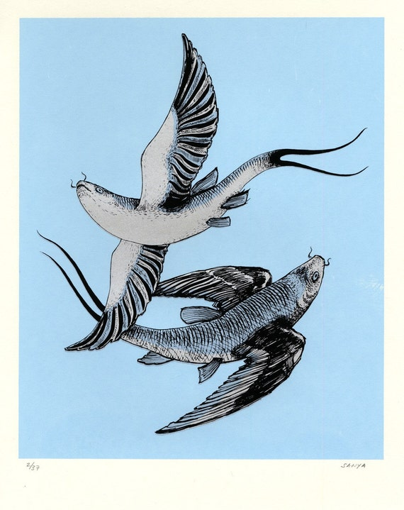 RESERVED! - PISCES Zodiac Flying-Fish, Original Screenprint, Hand-printed, Limited Ed - do not buy!