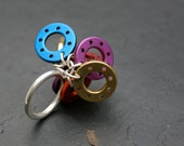 Large Multicoloured Playful Disc Ring - silver ring, purple, gold, red, orange, blue