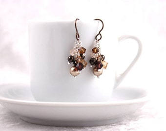 Mocha Cluster Earrings, Swarovski Crystals and Pearls, Hypoallergenic