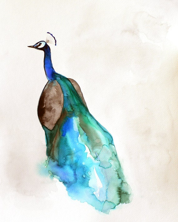 60% Off SALE - Featured in West Elm - Peacock Watercolor - Peacock Art - 8 x 10 Giclee Print - Bird Watercolor