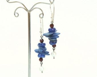 Royal blue earrings, kyanite and garnet earrings.