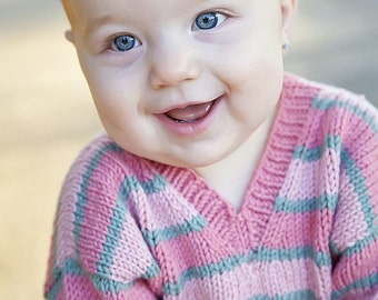 Handknit Baby Sweater, Girls -- Childrens Clothing -- ASPEN STREET -- Pink and Blue Striped V Neck -- Perfect for Spring Baby Showers