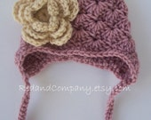 Baby Girl's Hat with Earflaps in Dusty Pink and Beige - Many Sizes Available