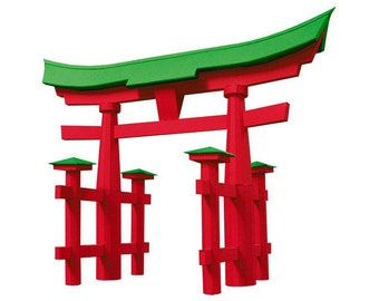 Torii of Itsukushima, paper model kit