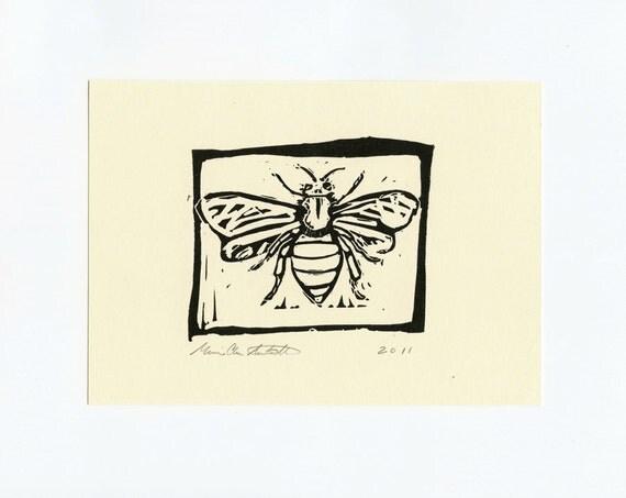 Bee Art - Block Print of Honey Bee - Anatomical Honey Bee -  Signed Original Print - 5 x 7  Wall Art - Science Nature Decor - Gift Idea
