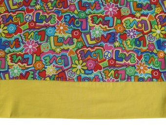 Groovy Love Pillowcase Bright Yellow Band Great for Valentines Day May be Personalized with up to 12 characters