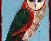Barn Owl Eco Friendly Folk Art  Vibrant Orange Sky Blue Deep Purple Acrylic Painting Recycled Table Top