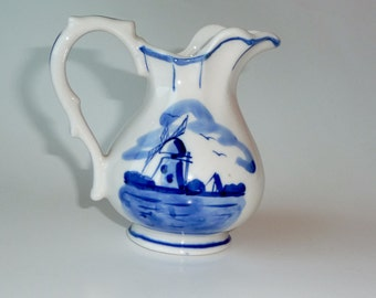 Delft Creamer - Pitcher - Blue - White - Ceramic - WINDMILL - 80s - Leaf - Hand Painted - Small - Delicate - Gift - Holland - Dutch - Retro