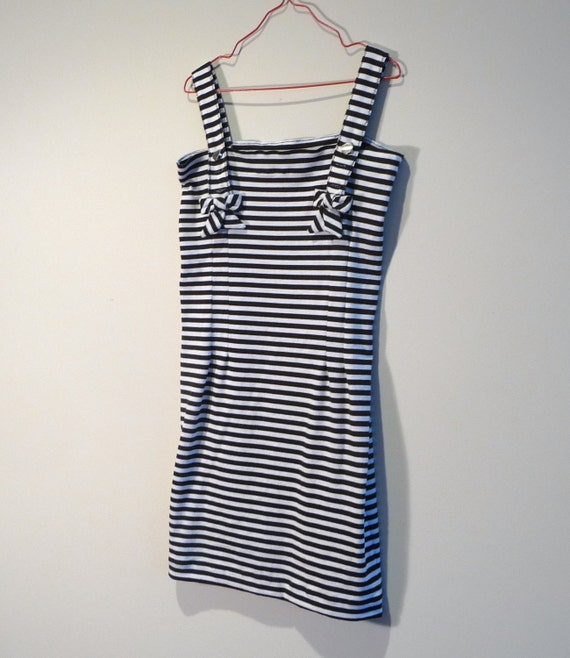 Size 7 - Girls - Nautical - French - Classic - Preppy - Black and White Stripes - Cotton - Bows - OOAK