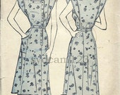 Vintage 1940s Side Button Front Dress Pattern Square Neckline Extended Shoulders 1947 Advance 4601 Bust 34