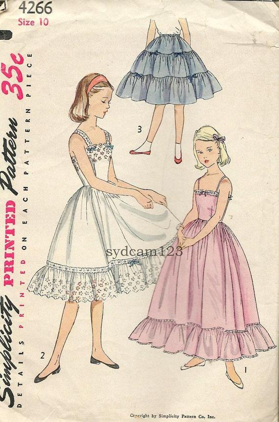 Vintage 1950s Girls Whole Slip Pattern Bottom Ruffle or Tiered Half Slip Petticoat 1953 Simplicity 4266 Size 10