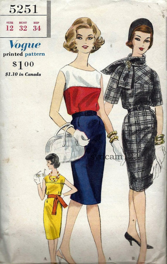 Vintage 1960s Collarless Colorblock Shift Dress Pattern Matching Scarf 1961 Vogue 5251 Bust 32