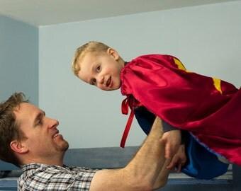 Handmade Child Cape Super Hero Costume Halloween Toddler Kids  Children Lightening Bolt Red Blue