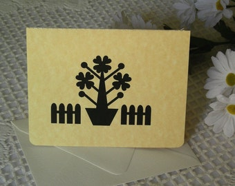 Silhouette Note Card Set of 4 - Picket Fence Blossoms