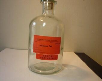 Vintage - Czech Lab Bottle - Glowing Glass Decor Piece with Bright Orange Label