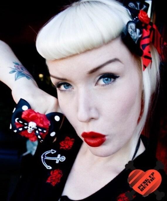 Psycho Rose Skull and Crossbone Red Zebra Hair Bow - Psychobilly - Retro - 50s
