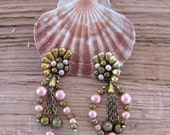 CLEARANCE SALE - Pink, Gold Dangle Japan Clip Earrings  (E-1-7)