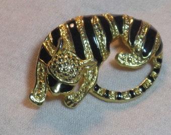 CLEARANCE SALE - Vintage Enameled Tiger Brooch Pin  (B-2-3)