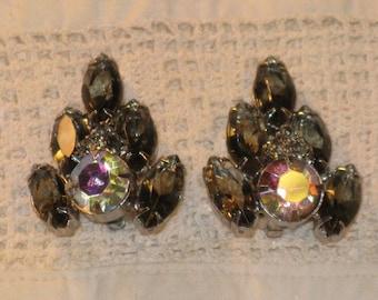 CLEARANCE SALE - Vintage Smokey and Aurora Borealis Rhinestone Clip Earrings (E-1-6)