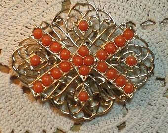 Vintage Sarah Coventry Tangerine Brooch (B-2-6)