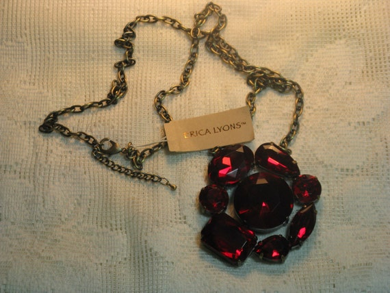 ERICA LYONS Red Faux Rhinestone Necklace - (N-2-2)