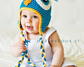 Teal Owl Hat - Baby Owl Hat - Crochet Owl Hat - Baby Hat - Owl Costume Hat - Ear-flap Baby Hat - Owl Beanie - Crochet Kid's Hat