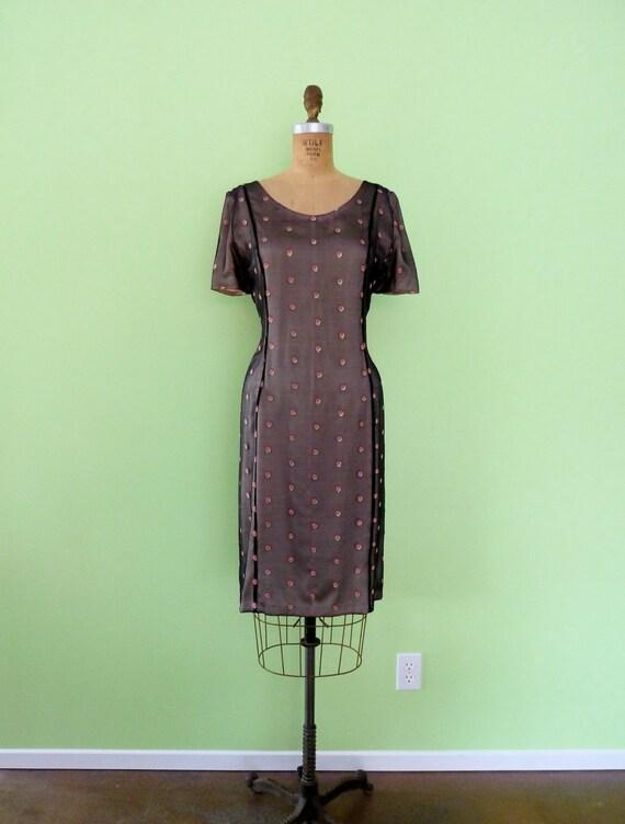 1960s Vintage Pink Polka Dot Dress 60s Wiggle Dress Black Dusty Rose Sheer Illusion M/L