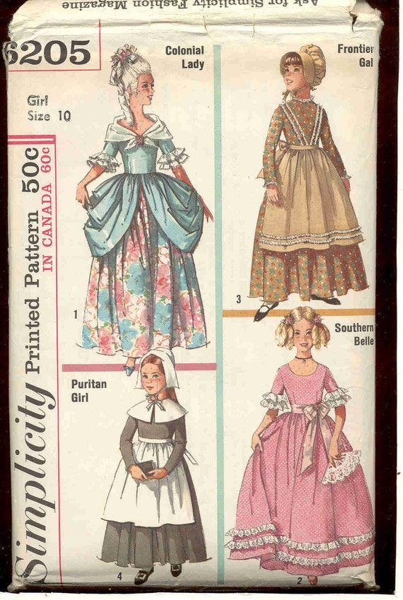 Simplicity 6205 Girl's period costume pattern-Includes Colonial, Prairie, Puritan and Southern Belle - 2 Sizes avail.