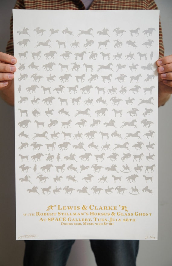 Lewis And Clarke Screen Printed Gig Poster
