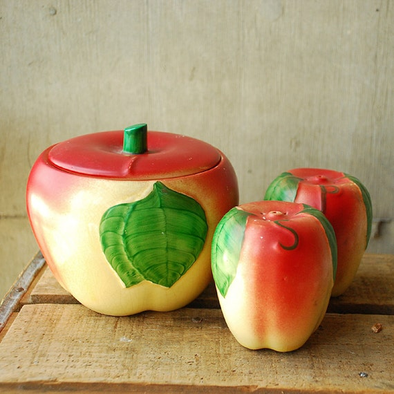 Hull Pottery Apple Set - Salt and Pepper Shakers and Canister