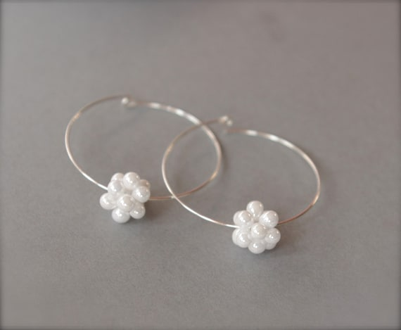 Sterling Silver Bridal Hoop Earrings, Bridal Cluster Earrings, White Cluster Glass Bead Available in Red and Purple Blue, Mother's Day Gifts