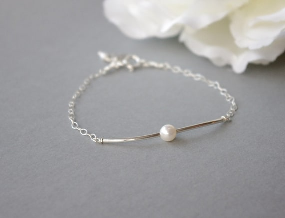 Sterling Silver Bracelet, Personalized Pearl Bracelet with Initial, Personalized Birthday Gift, Initial Bracelet Silver, Initial Jewelry