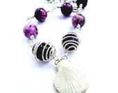 Silver Charm Bracelet Purple Wrapped Beads Chunky