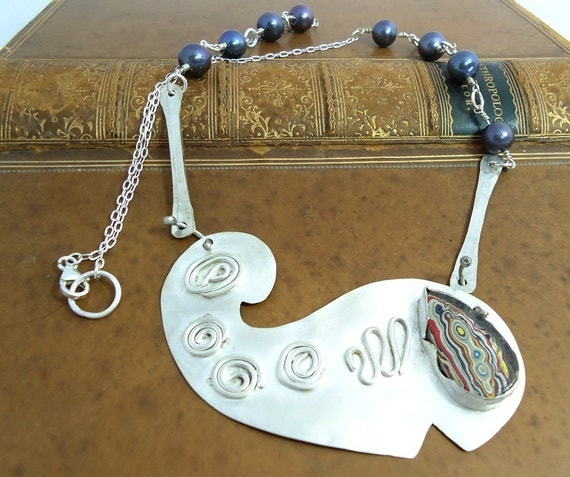 Silver Sterling Necklace Whale Shape with Blue Pearls and Fordite Art Jewellery