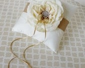 Wedding Ring Bearer Pillow Ivory Champagne Lace Customizable